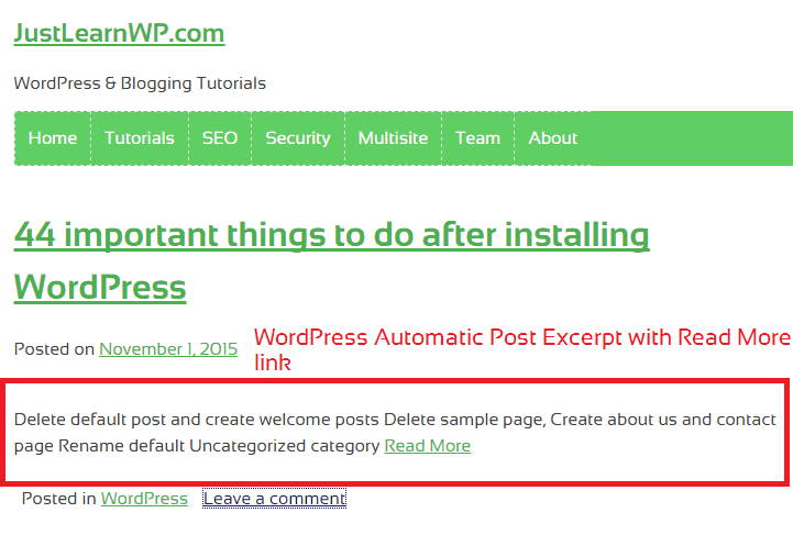 WordPress Automatic Excerpt Length tutorial- wordpress post excerpt