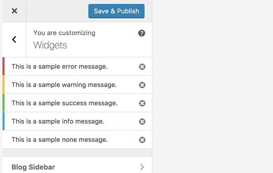 Better notifications in customizer