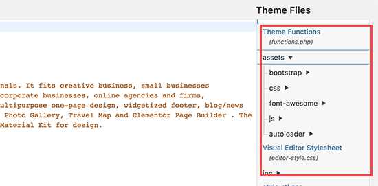 Files and directories in theme editor