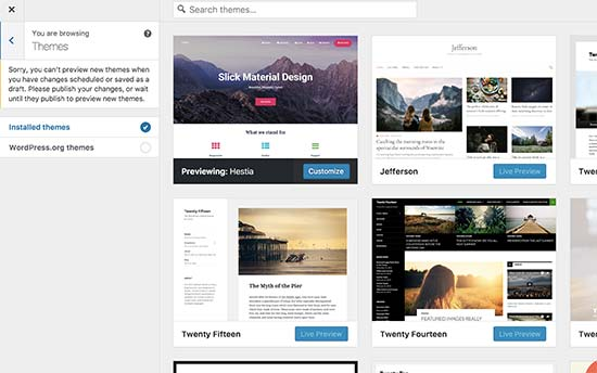 Browsing themes in customizer