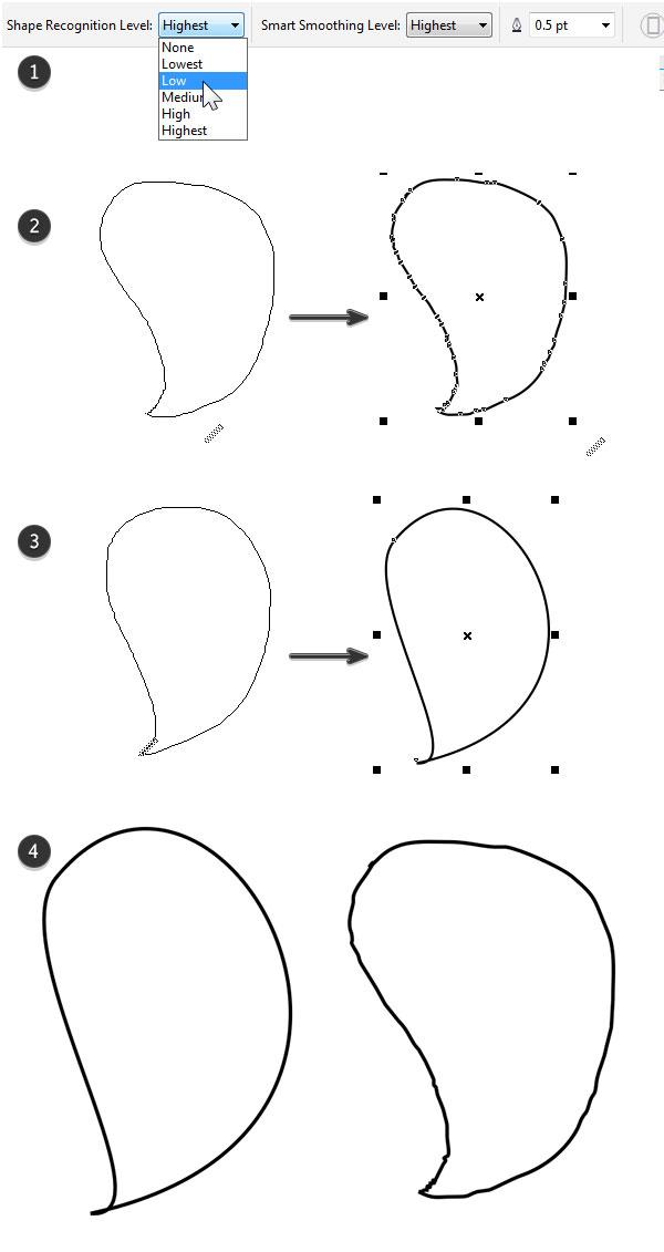 Smart drawing tool in corel draw