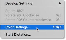 Opening the Color Settings in Adobe Bridge.