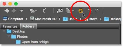 Clicking the Open in Camera Raw icon in Adobe Bridge.