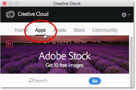 Selecting the Apps category.