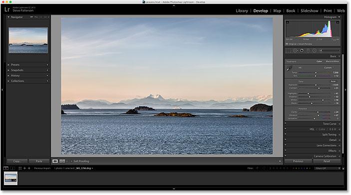 A photo open in the Develop module in Adobe Lightroom CC.