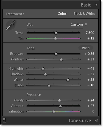 The Basic panel in Adobe Lightroom CC.
