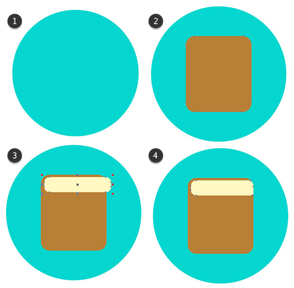 Draw circles and rectangles for the base of the icon design