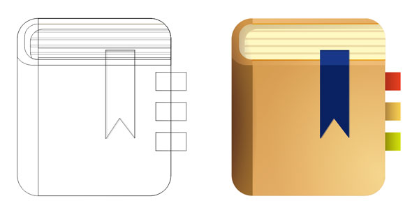Comparing the outline and the final version of the icon design