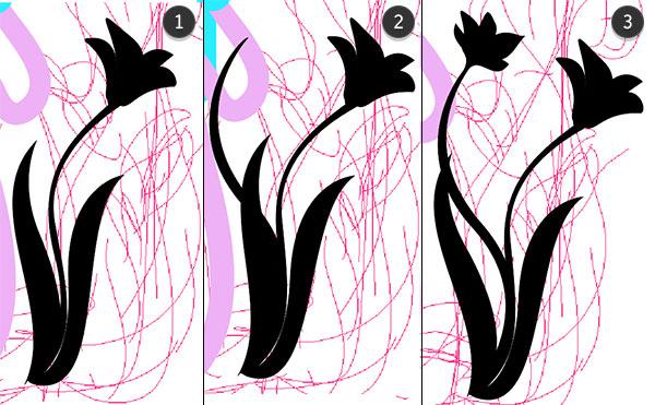 draw leaves stems and additional flowers