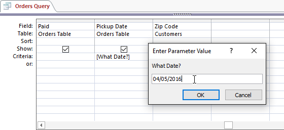 Creating a Parameter Query | Learn MS Access step by step