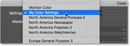 Choosing the new color settings I previously saved.