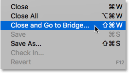 Choosing the Close and Go to Bridge command in Photoshop.