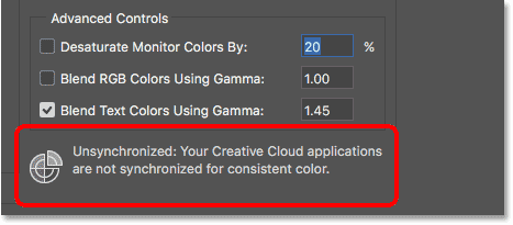 Your Creatuve Cloud applications are not synchronized for consistent color.