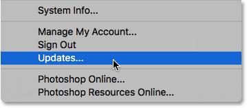 Choosing Updates from under the Help menu in Photoshop.