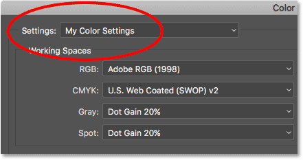 Photoshop is using the custom color settings preset we created.