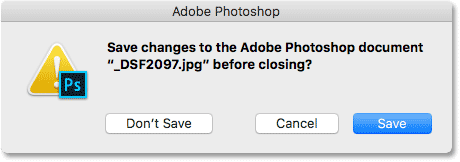 Photoshop asks if you want to save your work before closing the image.