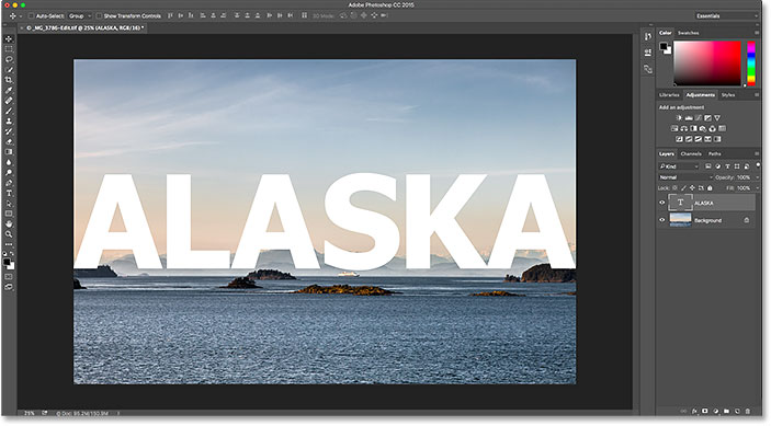 The previously-edited image re-opens in Photoshop.