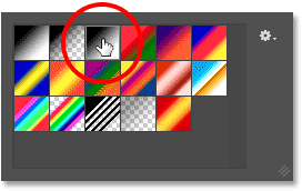 Choosing the Black to White gradient from the Gradient Picker in Photoshop.