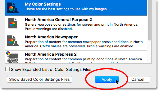 Clicking the Apply button to sync the color settings.
