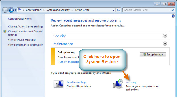 Getting to System Restore