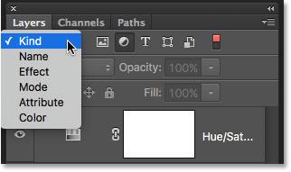 Click the Filter Type box to view all the ways we can filter layers. Image © 2016 Photoshop Essentials.com