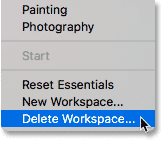 Choosing the Delete Workspace command in Photoshop.