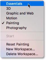 Switching back to Photoshop's default Essentials workspace.
