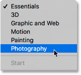 Switching from Essentials to the Photography workspace.