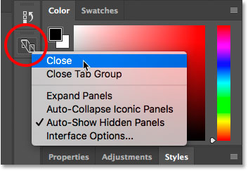 Closing the Device Preview panel in Photoshop.