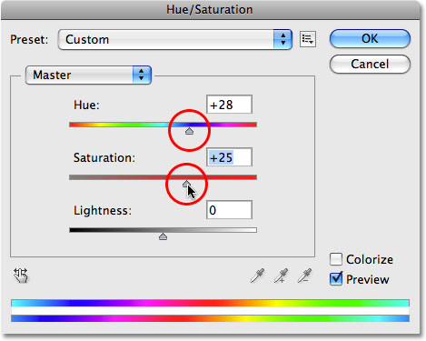 The Hue/Saturation image adjustment in Photoshop.