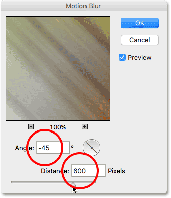 The Motion Blur filter's dialog box. Image © 2016 Photoshop Essentials.com