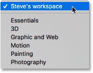The custom workspace is now included with the built-in Photoshop workspaces.