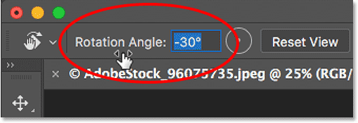 Rotating the view with the Scrubby Slider in Photoshop