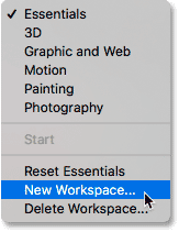 Creating a new Photoshop workspace.
