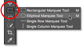 Choosing a hidden tool in the Photoshop Toolbar.