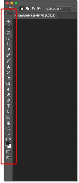 The Photoshop Toolbar and tools.