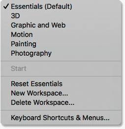 The list of Photoshop's workspaces under the Window menu.