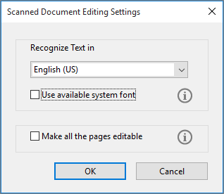 Settings for editing scanned documents