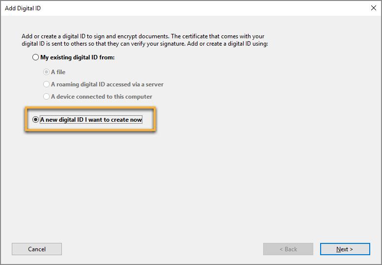 Create a new digital ID