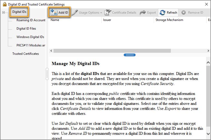 Add a new digital ID