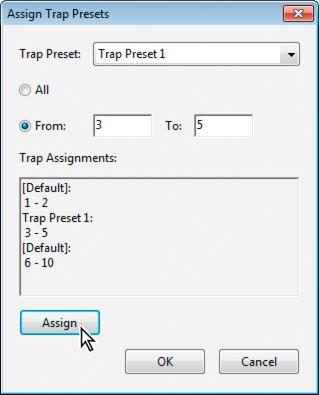 Assign Trap Presents dialog box