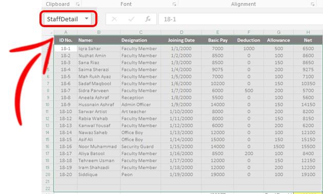 Staff Salary Staff Detail range name