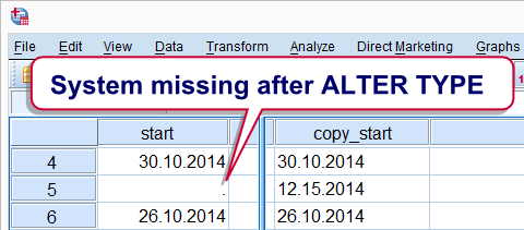 SPSS ALTER TYPE command system missing value