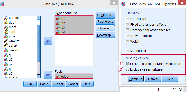 SPSS ANOVA Exclude Missing Values By Analysis