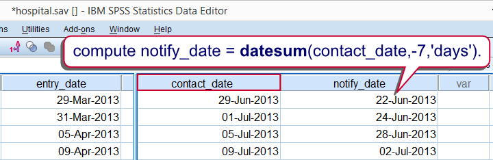 SPSS Datesum Function Example