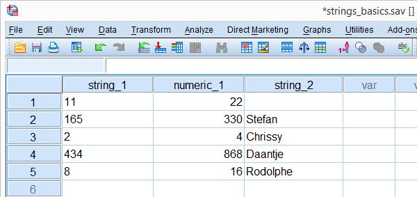 SPSS String Variable Basics Data File