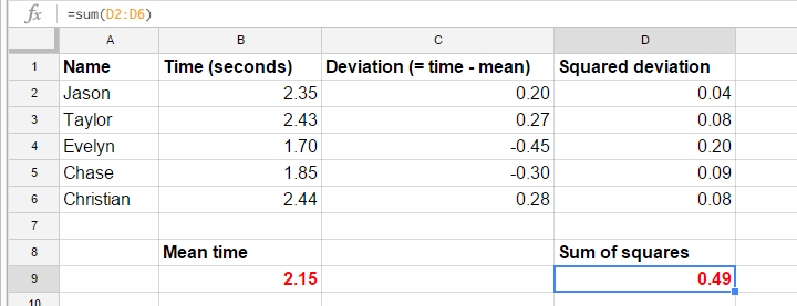 Variance - Manual Calculation in GoogleSheet