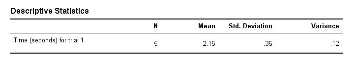 Variance - SPSS Descriptives Table
