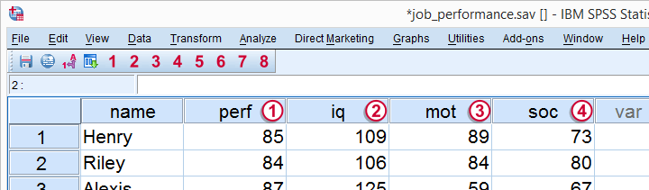 Multiple Regression - Raw Data Screenshot