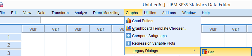 SPSS Graphs Legacy Dialogs Bar 840